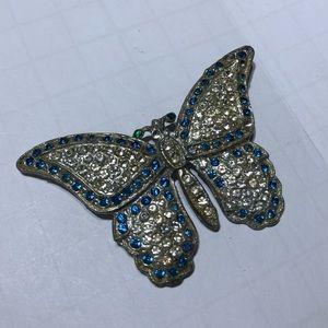 Vintage silver Butterfly rhinestone brooch pin
